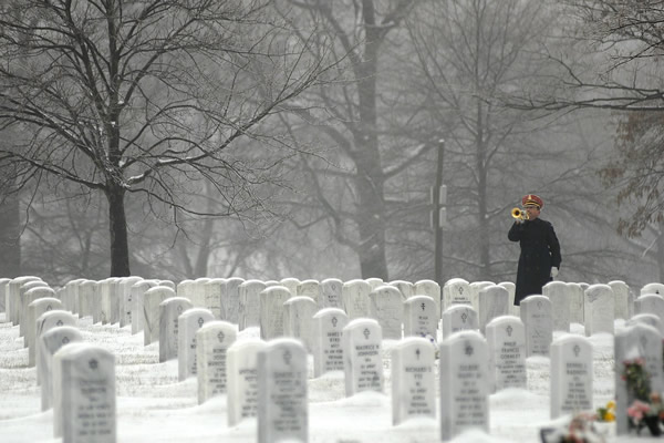 Arlington Cemetery in winter near where Rasevic provides Arlington County Snow Removal Services