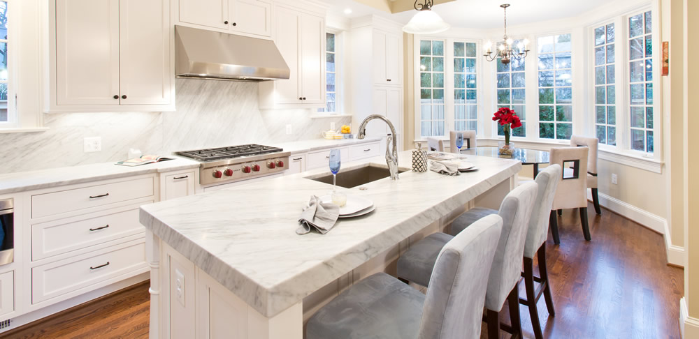 kitchen marble countertop by Rasevic Construction in Bethesda, MD